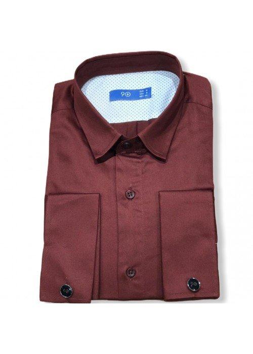 Мужская рубашка длинный рукав PLUSNINETY PN7074-BR ТУРЦИЯ