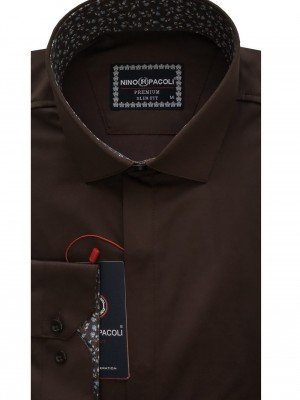 Мужская рубашка длинный рукав NINO PACOLI 7044CR_SATIN(5) ТУРЦИЯ