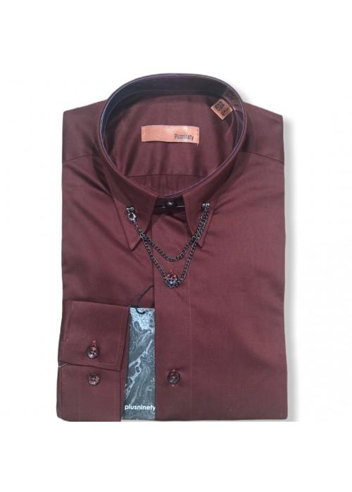 Мужская рубашка длинный рукав PLUSNINETY PN7075-BR ТУРЦИЯ