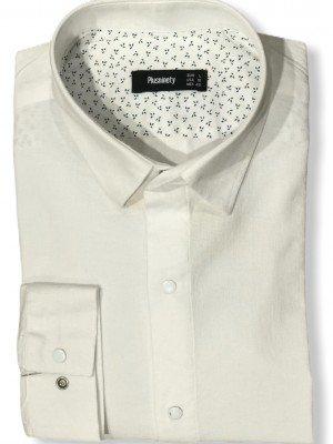 Мужская рубашка длинный рукав PLUSNINETY PN7071-W ТУРЦИЯ