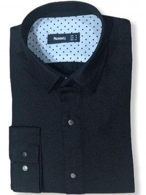 Мужская рубашка длинный рукав PLUSNINETY PN7072-BL ТУРЦИЯ